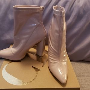 Patent leather booties
